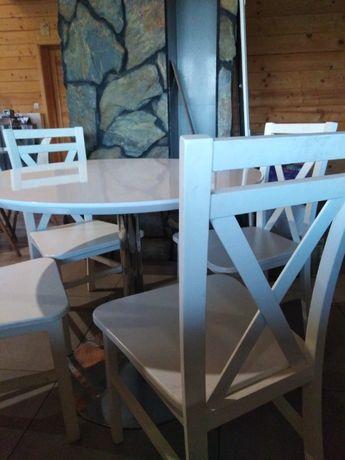 Komplet Stół + 4 krzesła kolor biały