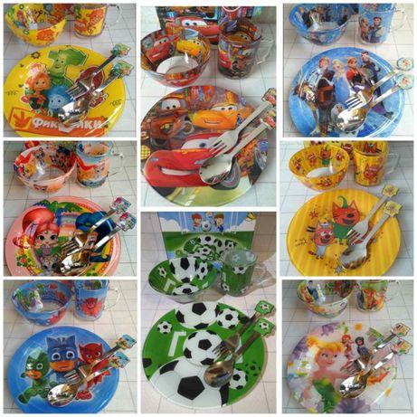 Набор детской посуды 3в1 трактор,тачки, Лол,майнкрафт, щенячий патруль