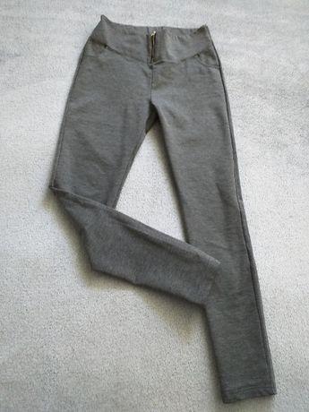 spodnie rurki szary melanż na suwak zip L