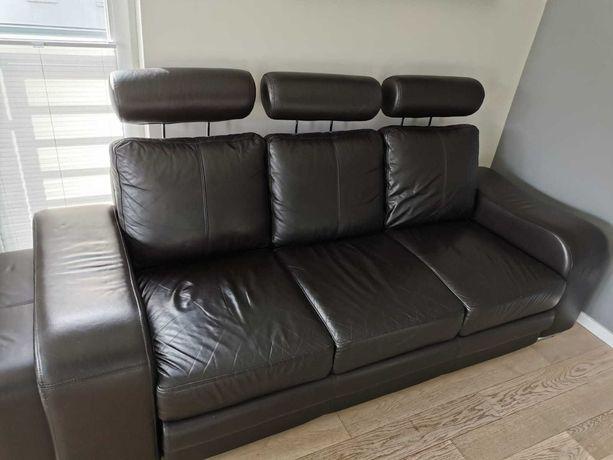 Sofa kanapa wypoczynek skórzany rozkładany ciemny brąz
