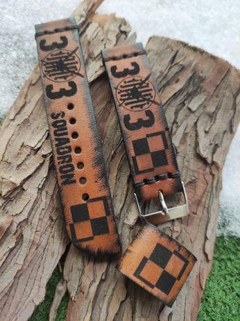 Pasek do zegarka ze skóry bydlęcej, handmade, szer. 22 mm, nowy