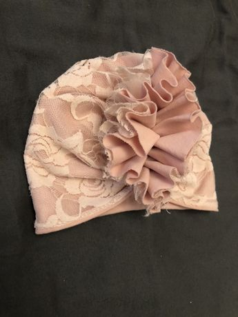 Turban koronka różowa