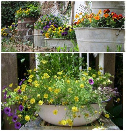 Naczynia ocynkowane balia miska gary PRL na kwiaty do ogrodu