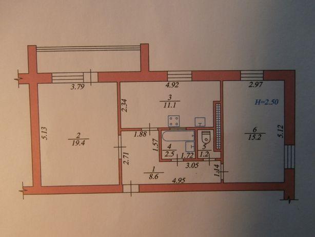 2 ком. квартира, большая (60.5кв.м), светлая, теплая в лесной зоне
