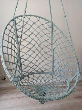 Fotel wiszący , hamak ażurowy miętowy