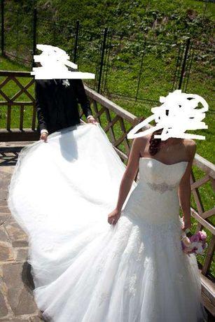 Suknia ślubna S 36 śmietankowa koronka syrenka Bella Sposa