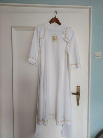 Alba sukienka komunijna ZESTAW r.134 +torebk+peleryn+rękawiczki+wianek