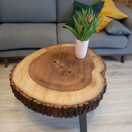 Stolik stół kawowy z plastra drewniany jesion loft 70 cm duży metal