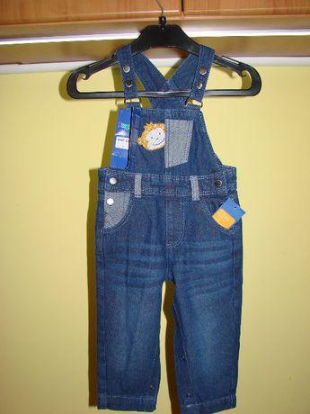 Ogrodniczki jeansowe rozm. 80 cm.