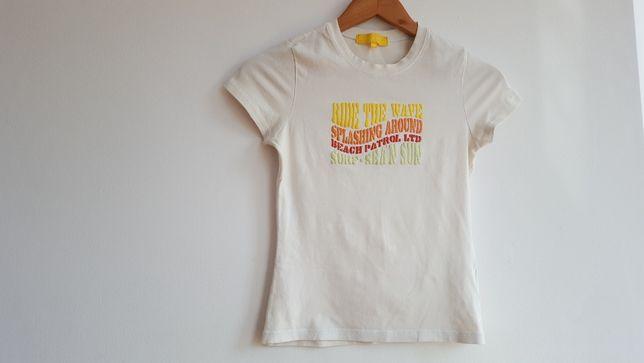 Bluzka T shirt z napisami z przodu rozmiar S