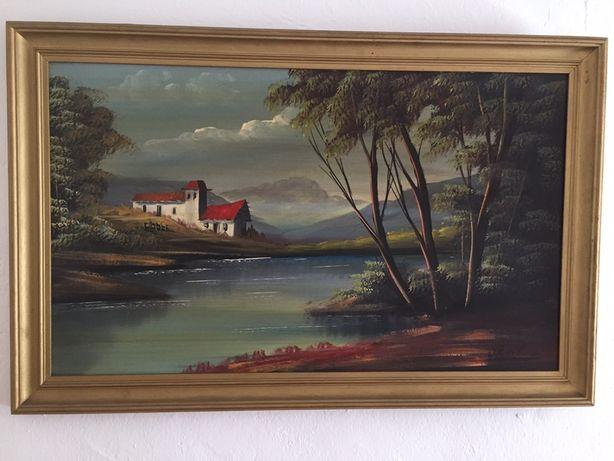 Quadro pintado com natureza