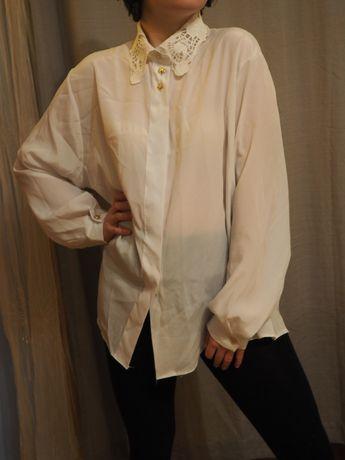 Biała koszula z ażirowym kołnierzykiem xl