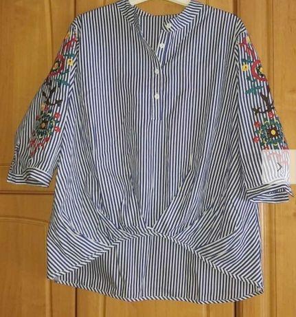 Bluzka hafty niespot roz 42-44 oversize w paseczki