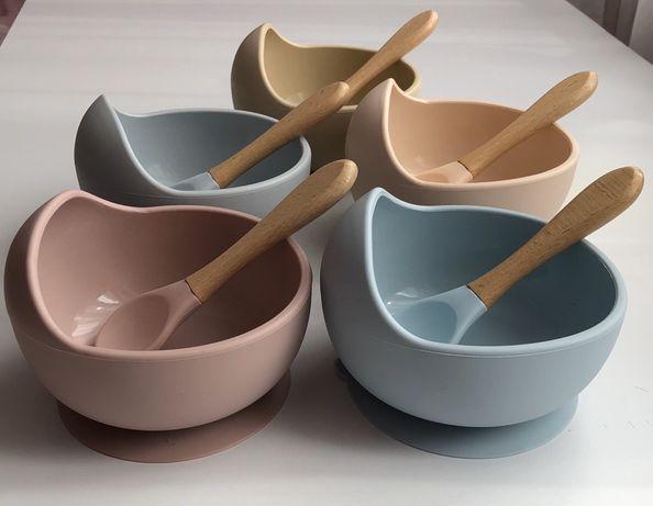 Набор силиконовая тарелка и ложка, набір ложка і тарілка