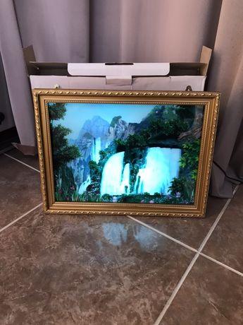 Живая картина в багете водоспад с подсветкой и пением птиц