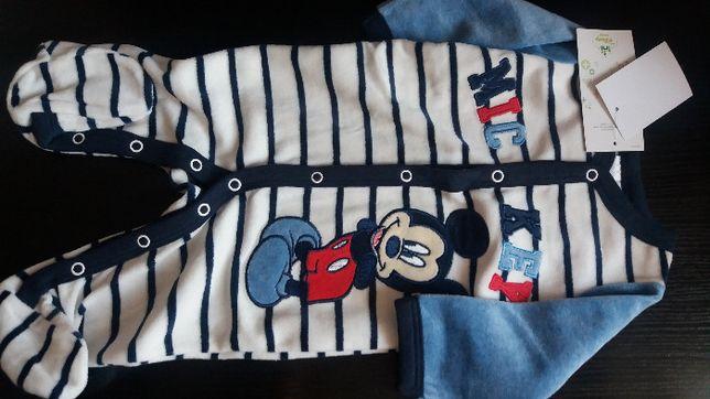 Nowa ciepła piżamka pajacyk Myszka Mickey Miki C&A 68