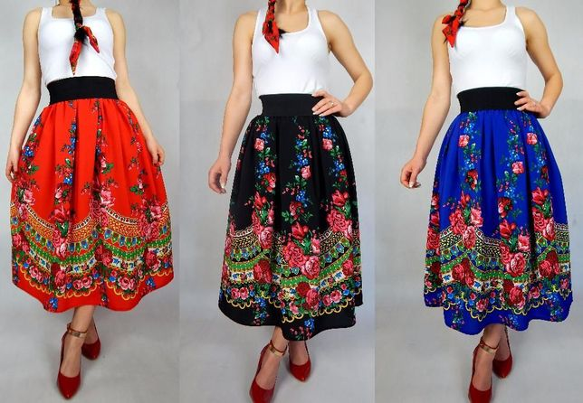 POLSKA spódnica CLEO góralska folk spódniczka ludowa midi