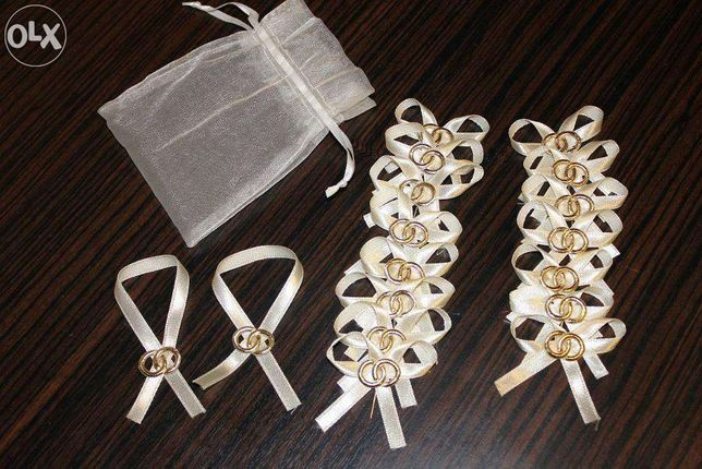 kotyliony przypinki ślubne weselne wstążki 15 szt.