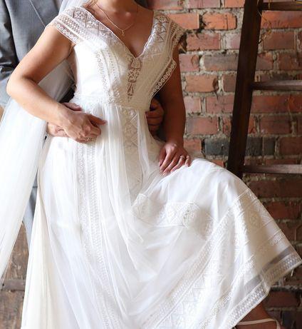 Suknia ślubna koronkowa boho rustykalna S M