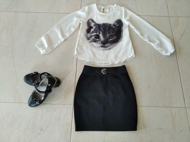 Strój galowy, bluzeczka H&M, spódniczka mini- zestaw