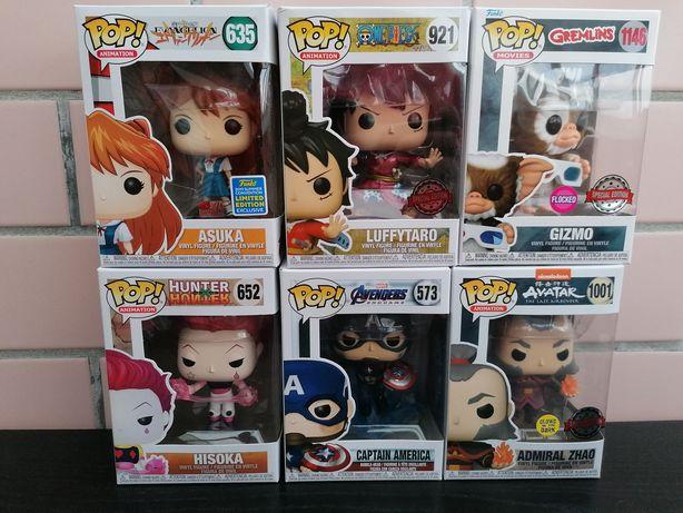 Funko pop Hisoka, luffy, Asuka, capitão America, gizmo e avatar