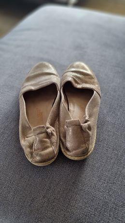 Buty złote baleriny espadryle