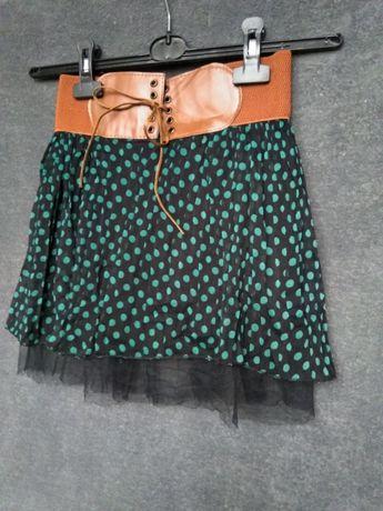 Spodniczka dla dziewczynki pas tiul kropki czarna turkus