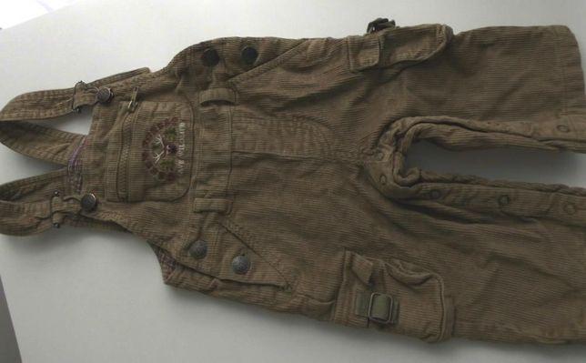 Spodnie struksowe, ogrodniczki, 74 cm