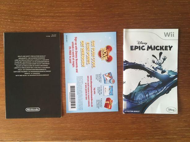 Manuais Epic Mickey para Wii