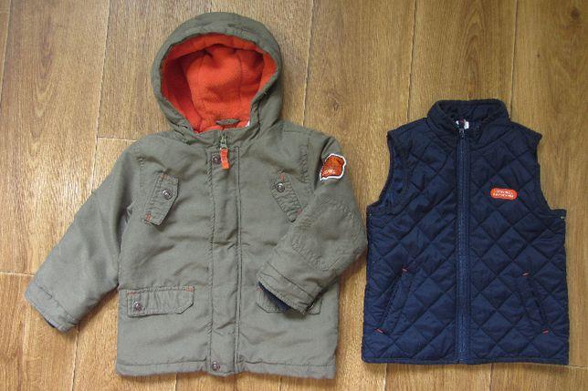 Теплая демисезонная куртка курточка жилетка 3в1 мальчику 2 года 92