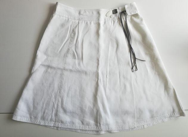 Mexx lniana biała spódnica spódniczka z lnu len 38 M lato do kolan