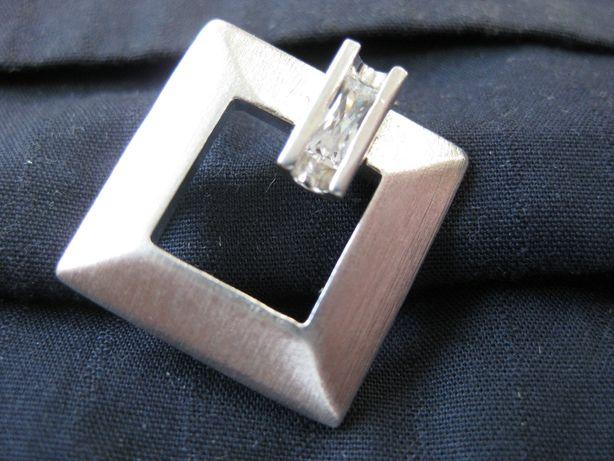 Stara zawieszka srebro kwadrat typ Warmet Orno PRL