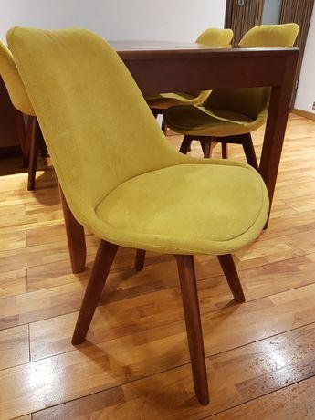 4 x krzesło tapicerowane Hugo żółte. Pufa ikea. Cena za 1 krzeslo