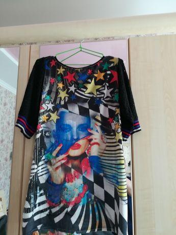 Яркое платье-туника, вечернее, праздничное