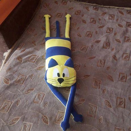 Прикольный кот игрушка-подушка (сине-жёлтый)