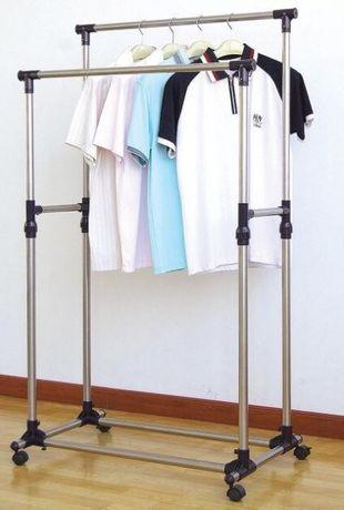 Двойная телескопическая вешалка для одежды,стойка для одягу,вішалка
