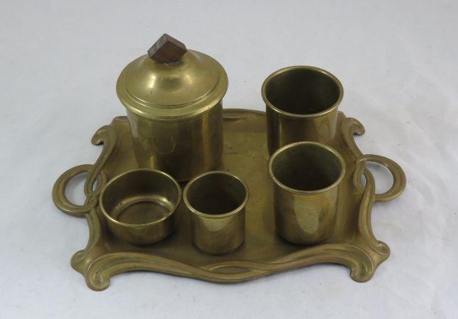 Conjunto 5 copos e Bandeja Latão Arte Nova; Altura Copo Maior 12cm;