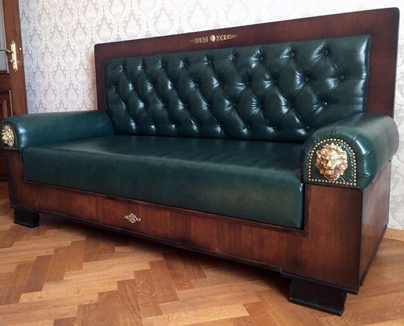 Антикварний кабінетний диван повна реставрація дерево бронза шкіра!