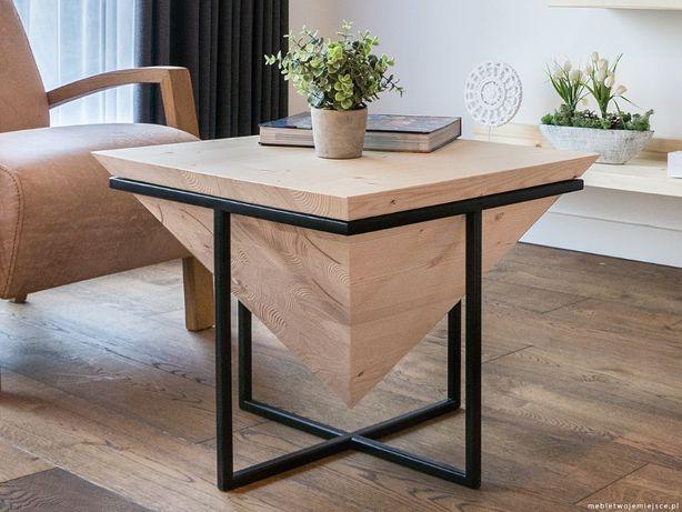 Designerski Stolik Kawowy Drewniany Lite Drewno Industrialny Loft