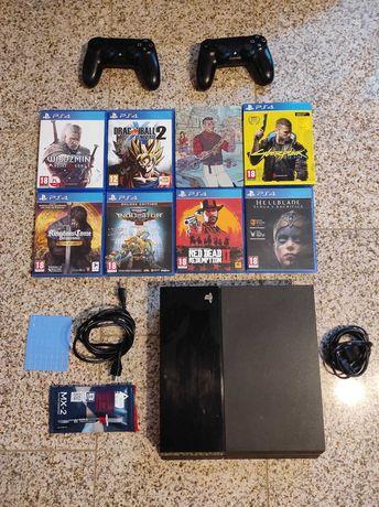 Playstation 4 slim 1000 GB + Cyberpunk, Redemption i inne gry, 2 pady