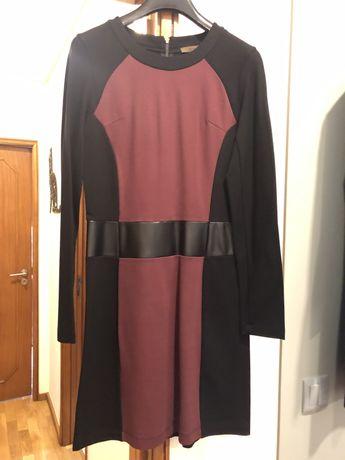 Vestido Decenio - bordeaux e preto