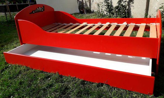 Łóżko, łóżeczko dziecięce, czerwone, samochód