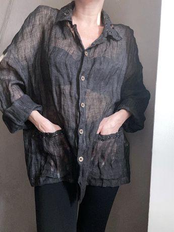 Дизайнерский льняной пиджак dany milano эксклюзив большой размер