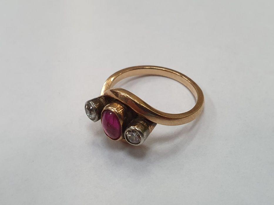 Wiekowy! Brylanty + rubin! Złoty pierścionek damski/ 585/ 4.21g/ R14 Gdynia - image 1