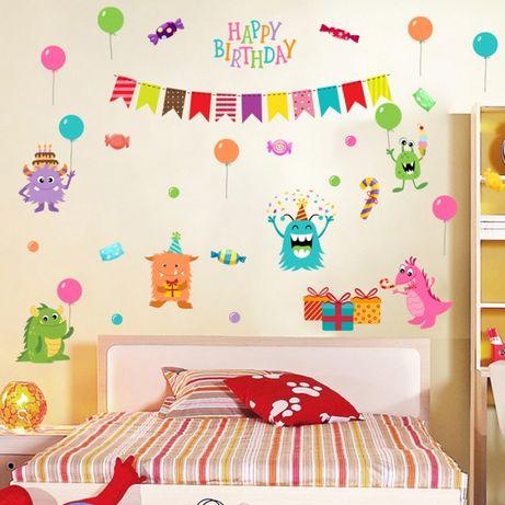 Наклейка на стену. Happy birthday. С днем Рождения