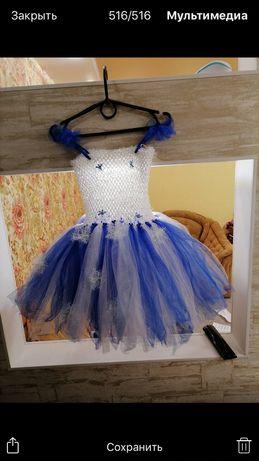 Новогоднее нарядное платье снежинка для девочки утреник