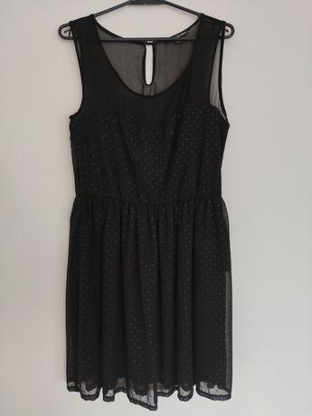 Czarna sukienka w cyrkonie z siateczką Tally Wejl r. 40