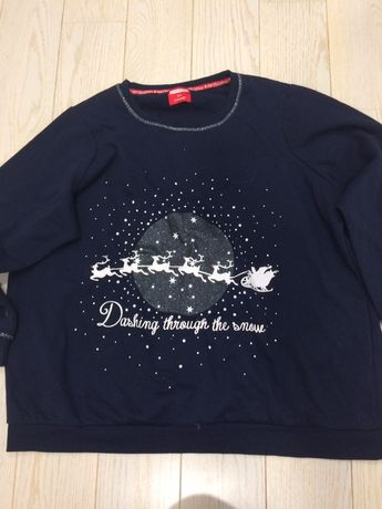 Bluza sweter świąteczna z reniferami świecąca