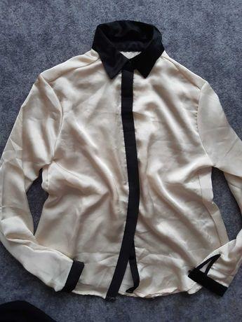 Koszula czarny kołnierzyk plisa Ecru krem M L XL
