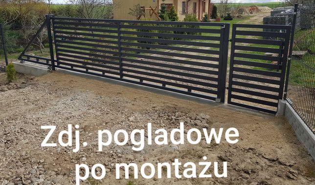 Brama przesuwna 4m + FURTKA brama wjazdowa panelowa antracyt KOMPLET